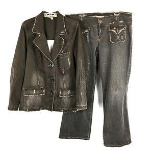 Z Cavaricci Brown Denim Shirt Jacket Jeans Set 20
